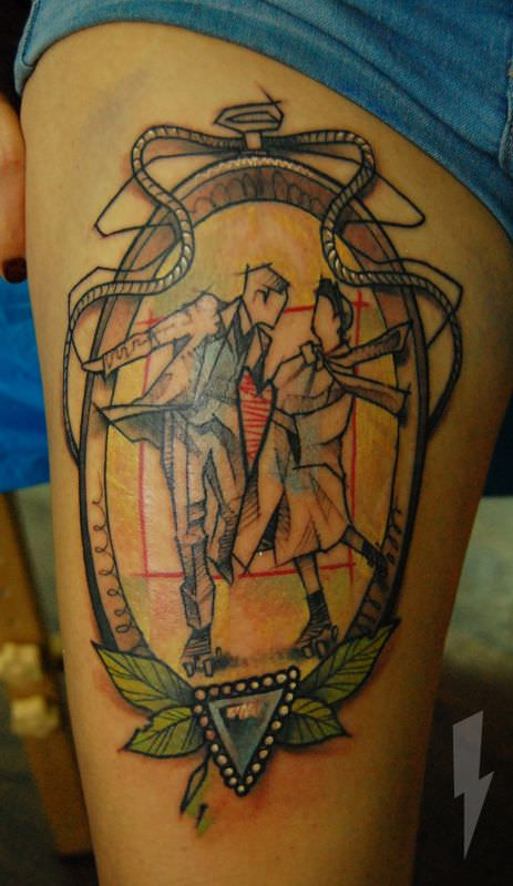 This love tattoo by Jukan celebrates realtionships and rollerskates