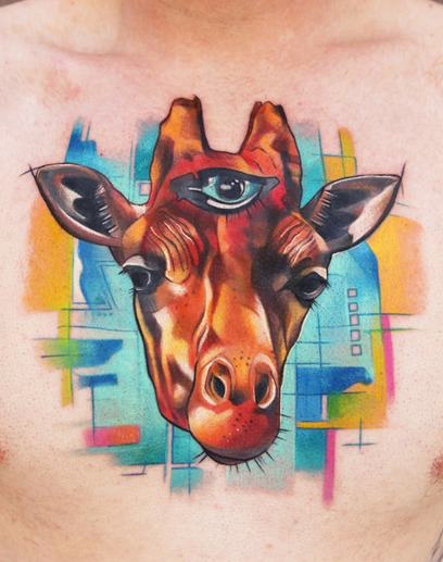 In real life, giraffe's are covered in short hair similar to that of horses. In this tattoo design of a giraffe with three eyes, the animal lacks its natural texture, a design technique that adds to the surrealistic nature of this tattoo design.