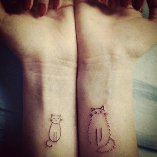 Two cute, simple drawings of cats become fun wrist tattoos
