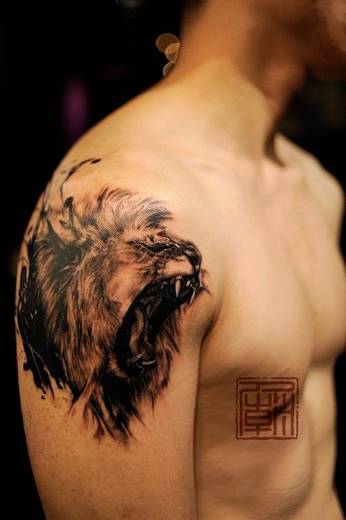 An amazing tattoo of a lion roaring in a sketch style from ...