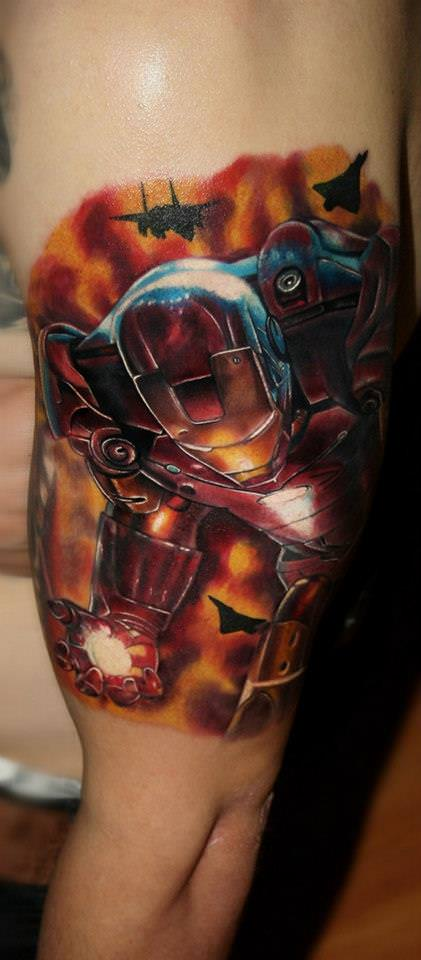 Carlox Angarita combines fan art and tattooing in this tattoo of Marvel comic hero Iron Man