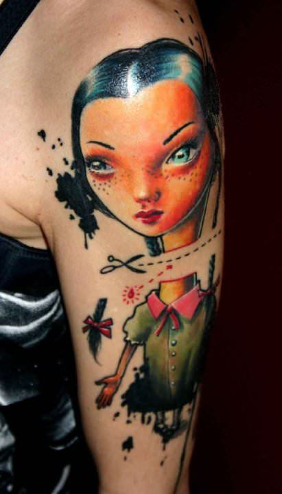 A surrealist dolly has her head cut off in this photo realistic cartoon tattoo by Nadelwerk