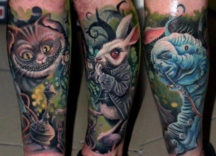Characters from the fantasy film Alice in Wonderland come alive in this photo realistic surrealist tattoo by Nadelwerk