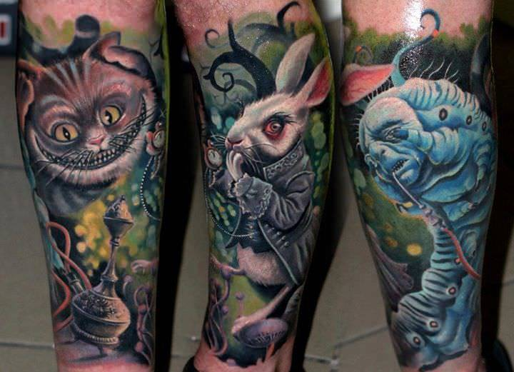 Characters from the fantasy film alice in wonderland come for Best realism tattoo artist