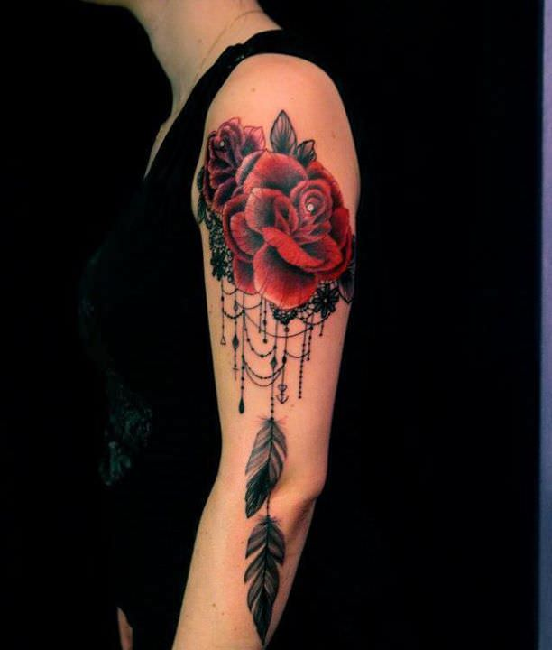 lace and roses become a feminine dreamcatcher tattoo design in this tattoo for women by dodie. Black Bedroom Furniture Sets. Home Design Ideas