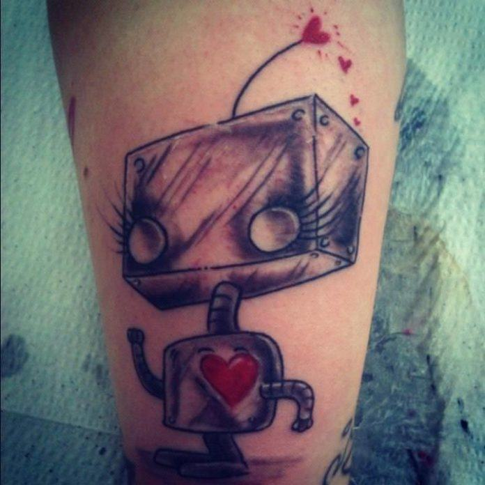 A cute little robot girl comes to life in this artistic tattoo design by tattoo artist Mel Wink