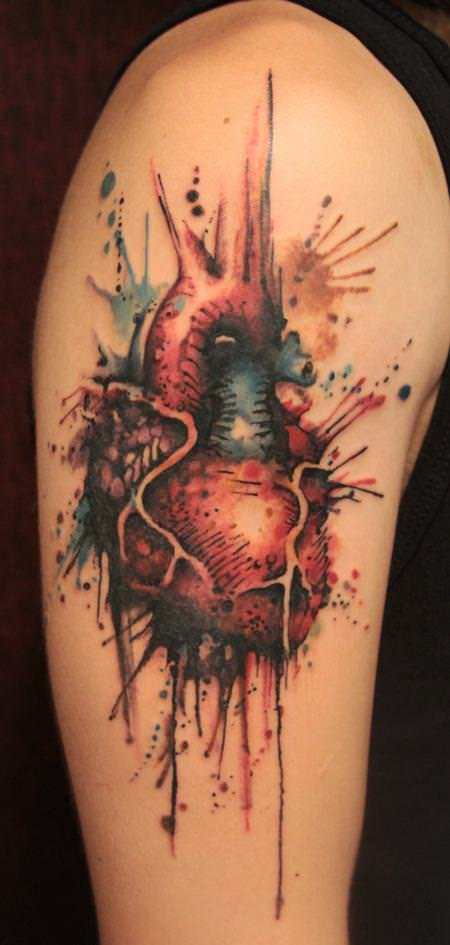 A human heart becomes a master art work in this watercolor painting by Gene Coffey