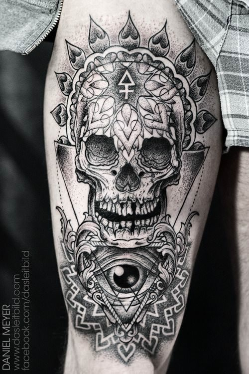 Sacred Geometry Skeleton Tattoo: A Human Skull And Eye Are Decorated With Spiritual Sacred