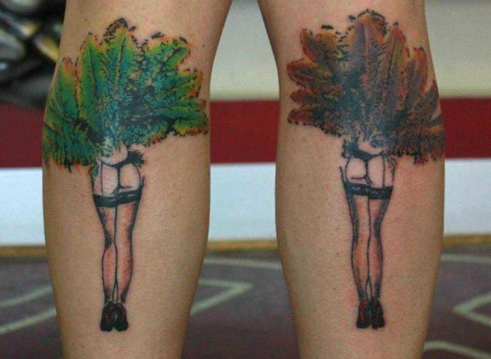 Australian tattoo artist Mel Wink gives two dancing girls an artistic, watercolor and sketchy effect