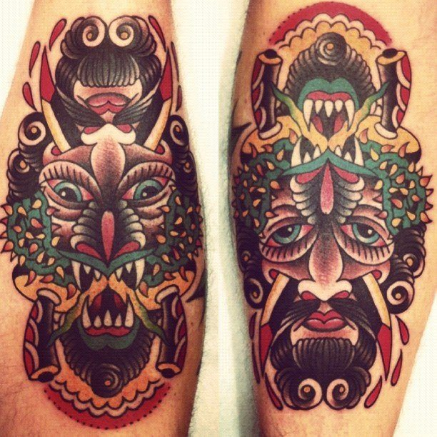 No matter which direction you look at this tattoo from, you can see either a human or monster face, by Karl Wiman