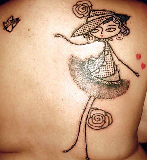 A beautiful girl poses in this abstract cartoon tattoo by French Avante Garde artist Noon