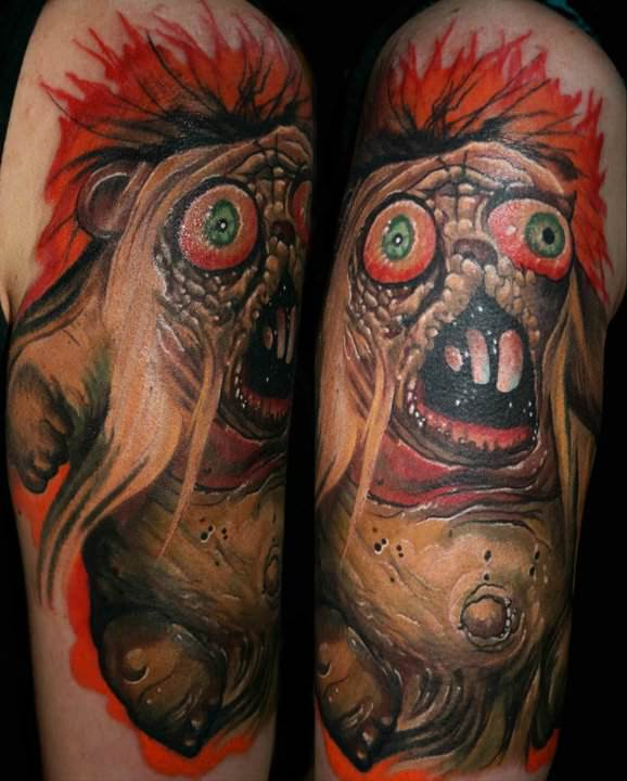 Horror Bear Gets A Gory And Colorful Life On Skin In This Surrealist