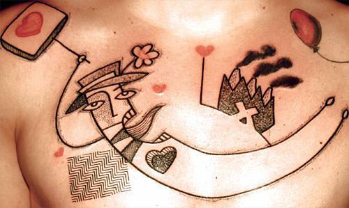 French tattoo artist Noon gives this abstract black ink tattoo of a man flying a spot of color in the form of red hearts