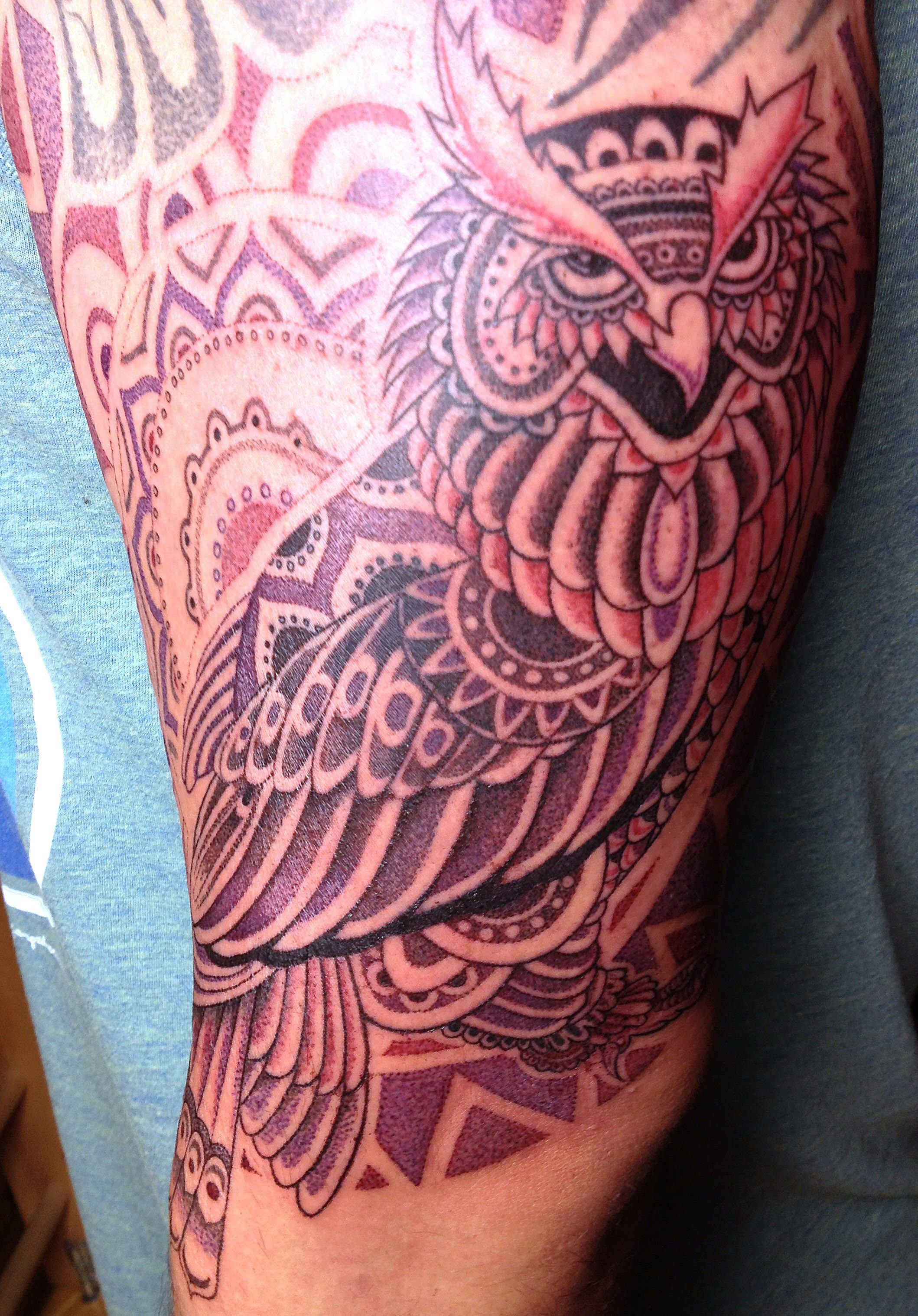 Tattoo arist Daemon Rowanchilde combines his experiences with different art mediums to create his own spiritual tribal style.
