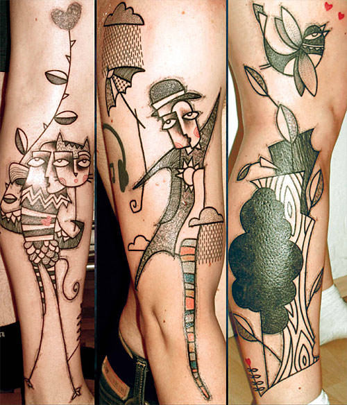 Tattoo artist Noon uses pattens and solid areas of color to give his abstract people and animal tattoos visual appeal