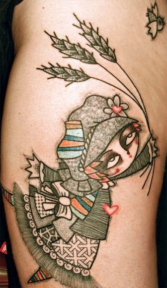 This cute character tattoo of a little farm girl is by French artist Noon who works in an abstract avante garde style