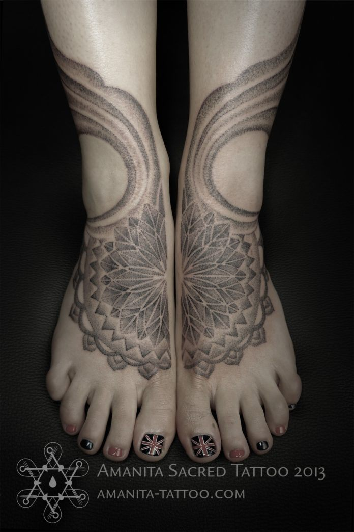 Two separate tattoos by Mike Amanita form one design when this woman puts her feet together