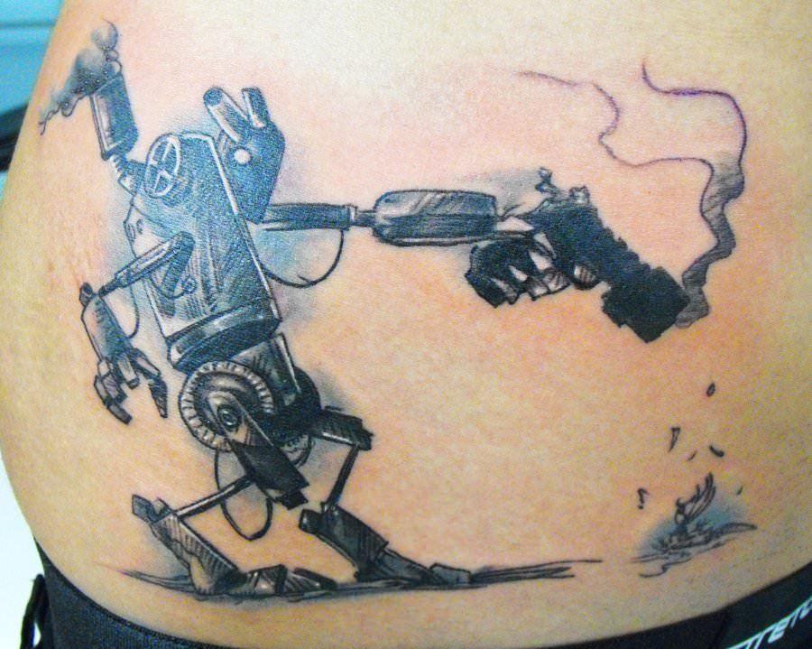 A killer robot destroys a bird in this humorously macabre robot tattoo design