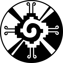 The Hunab Ku symbol means One God and is associated with both Mayan and Christian religious cultures