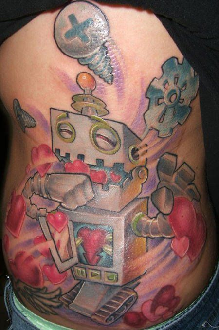 This new school robot tattoo shows a robot who is so filled with love that he is puking hearts