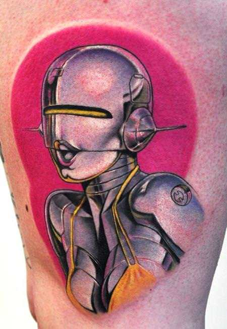 UK tattoo artist Bez creates a sexy robot pinup girl tattoo with feminine colors and a come hither expression