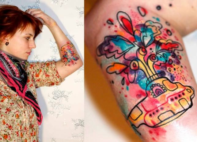 Petra Hlaváčková gives the Beatles' Yellow Submarine an abstract makeover in this colorful tattoo
