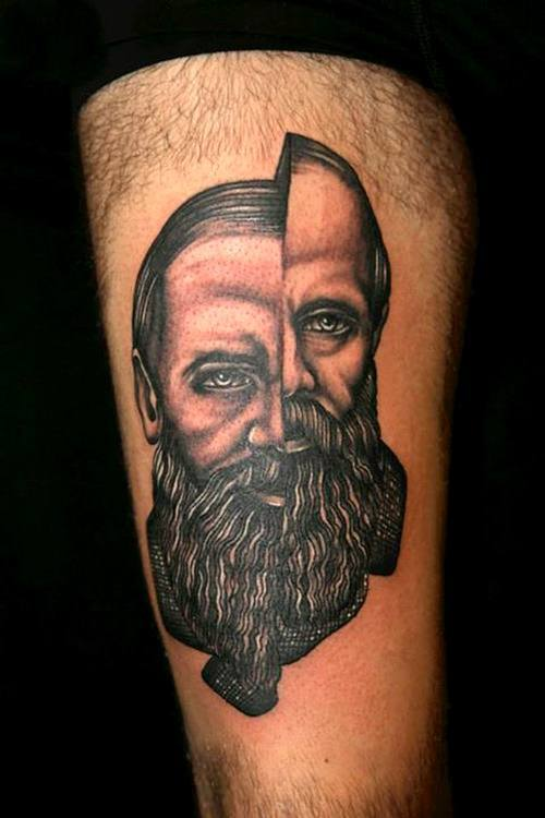 Pietro Sedda gives this portrait tattoo a split personality by seperating the sides of the face