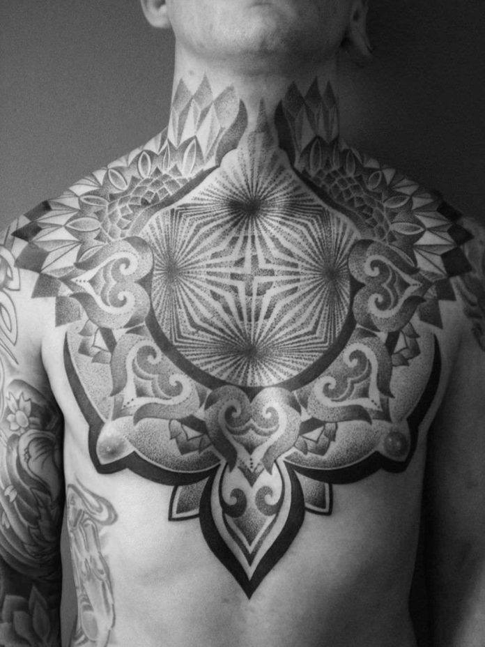 Italian tattoo artist Deliperi has used radial lines to create the illusion that this man has holes in his chest
