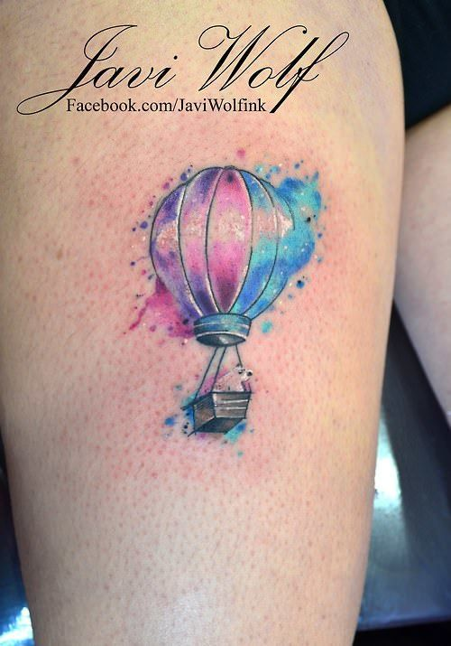 This cute but meaningful tattoo of a hot air balloon by Javi Wolf is eye catching and appealing