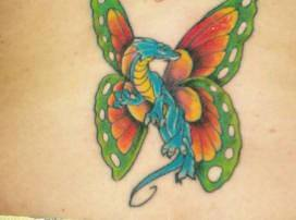 A dragon with butterfly wings is the subject of this cerative animal hybrid tattoo design