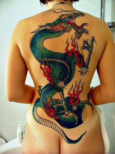 This full back tattoo of a Chinese dragon symbolizes power, beauty and grace