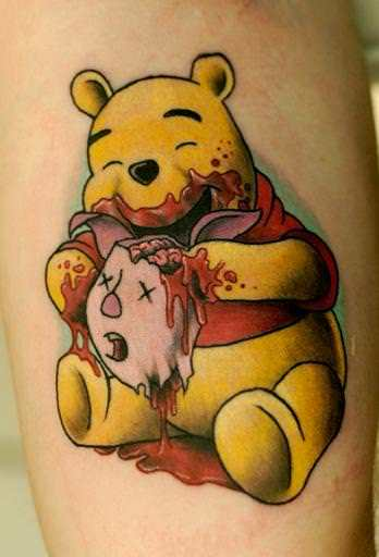 A zombie Pooh Bear eats Piglet's brains in this funny but sick and twisted tattoo by Cavan Infante