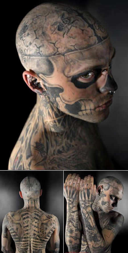 Rico Zombie has transformed himself into a living skeleton with his deathly tattoos