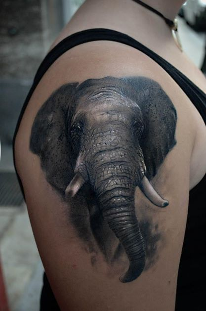 A bachelor elephant is a symbol of independence in this realistic tattoo by Maui Meherzi