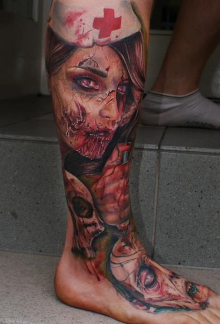 A sexy zombie nurse isn't interested in taking your temperature - tattoo by Mario Hartmann