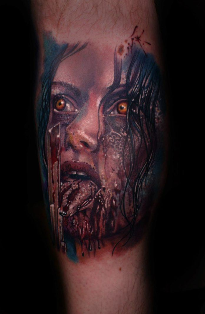 A zombie girl drools over your flesh and blood in this gory horror tattoo by Mario Hartmann