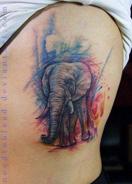 becb4af450c8e Benjamin Otero has used a sketchy watercolor style to create this colorful elephant  tattoo.