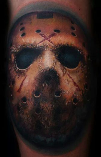 Berlin tattoo artist Mario Hartmann inks a photo realistic portrait of Jason from cult horror film Friday the 13th