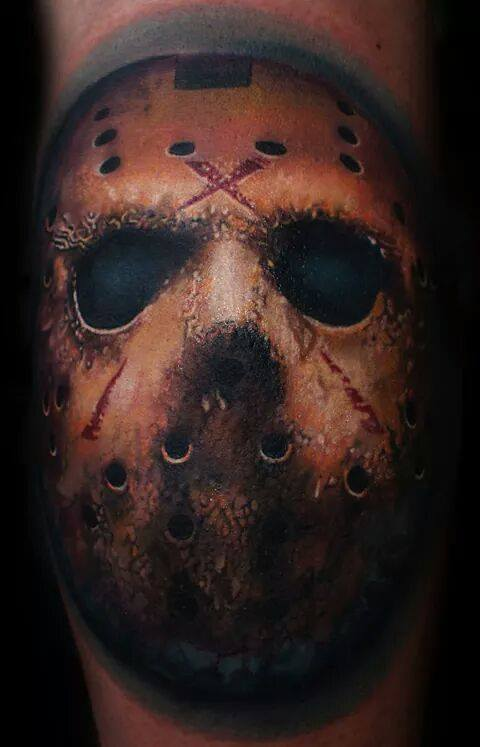 Berlin tattoo artist Mario Hartmann inks a photo realistic portrait of Jason from cult horror film Friday the 13th