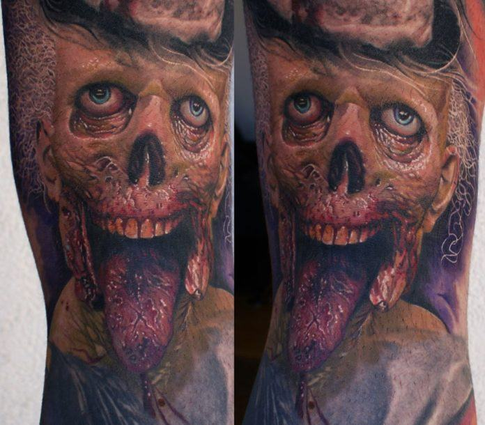 German tattoo artist Mario Hartmann's tattoo zombie wants to eat your brains