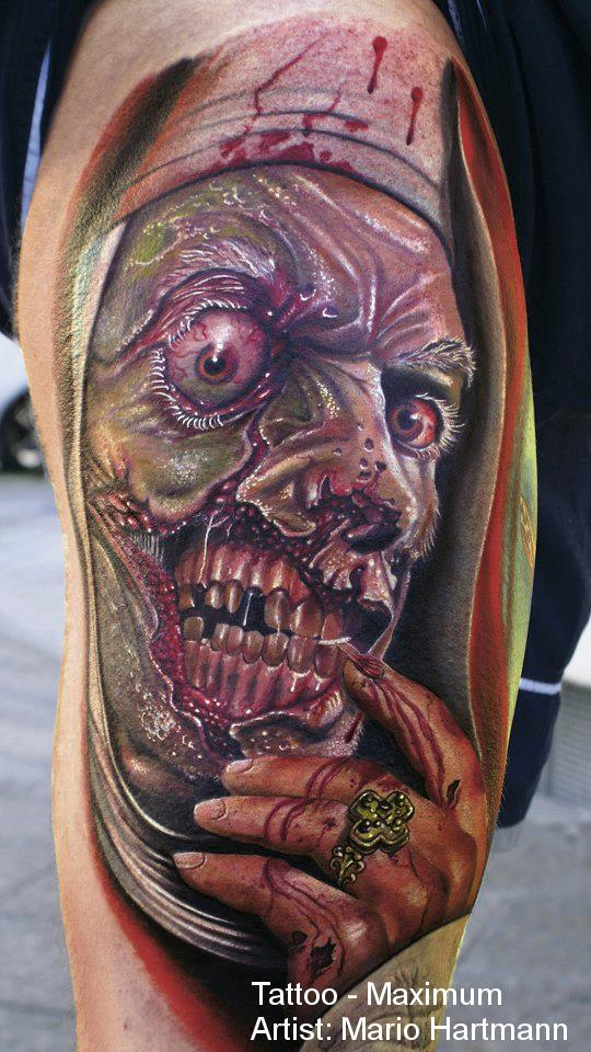This horror portrait tattoo will make you rethink religion and the afterlife