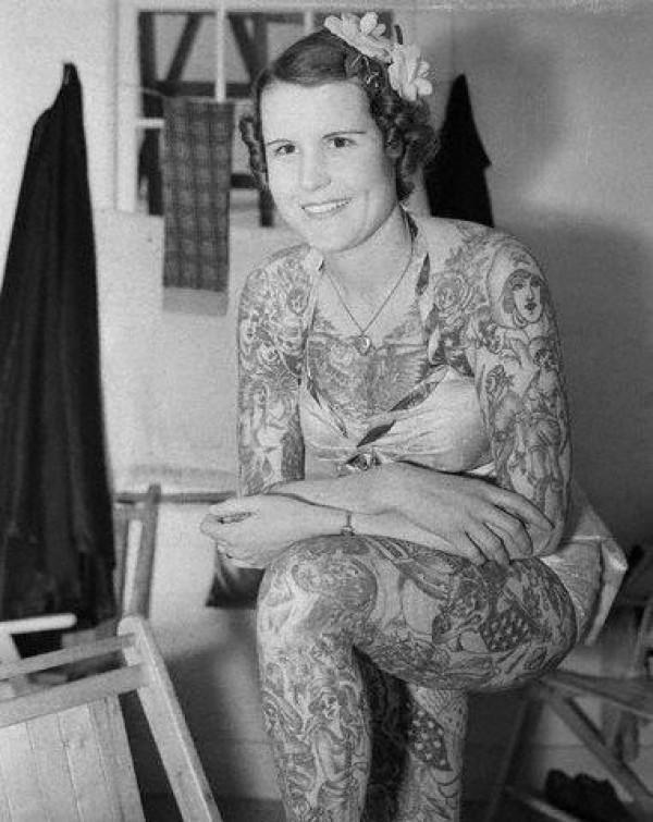 Sideshow performer Betty Broadbent became on of the youngest women to work professionally as a tattooed lady in America