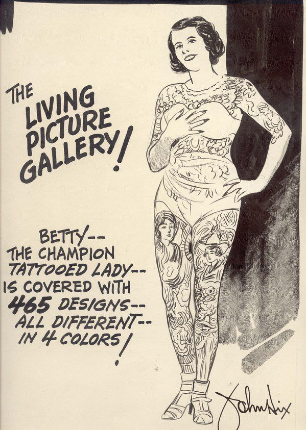 This poster from the 1930s features tattooed lady Betty Broadbent, calling her the Living Picture Gallery
