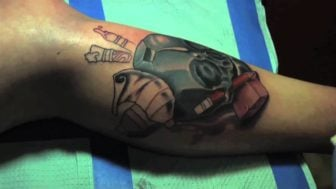Tattoo Time Lapse: Skull on Shin by Shawn Will
