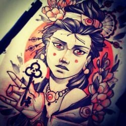 A beautiful girl presents you with a key in this harrowing tattoo sketch by Vitaly Morozov