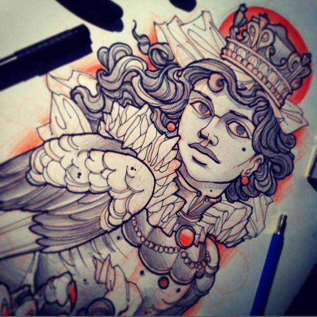 A cursed queen is both bird and beautiful woman in this fantasy tattoo sketch by Vitaly Morozov