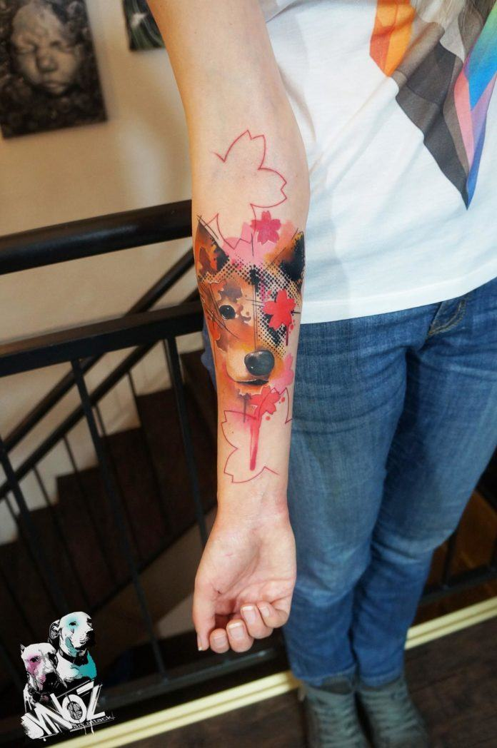 A pet owner loves her dog so much she had this funky watercolor tattoo portrait created by Dynoz Art Attack