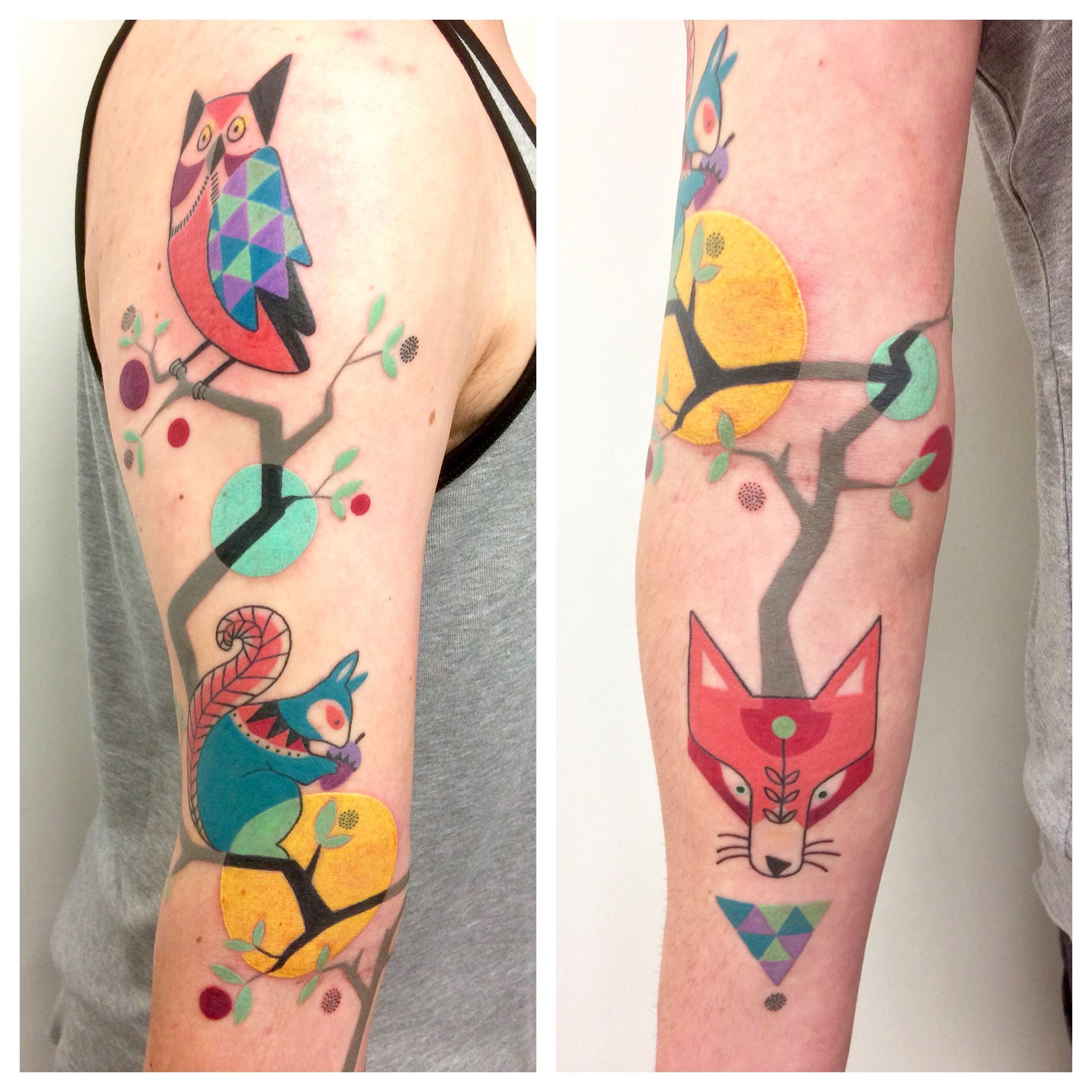 A squirrel, an owl and a fox feature in this colourful