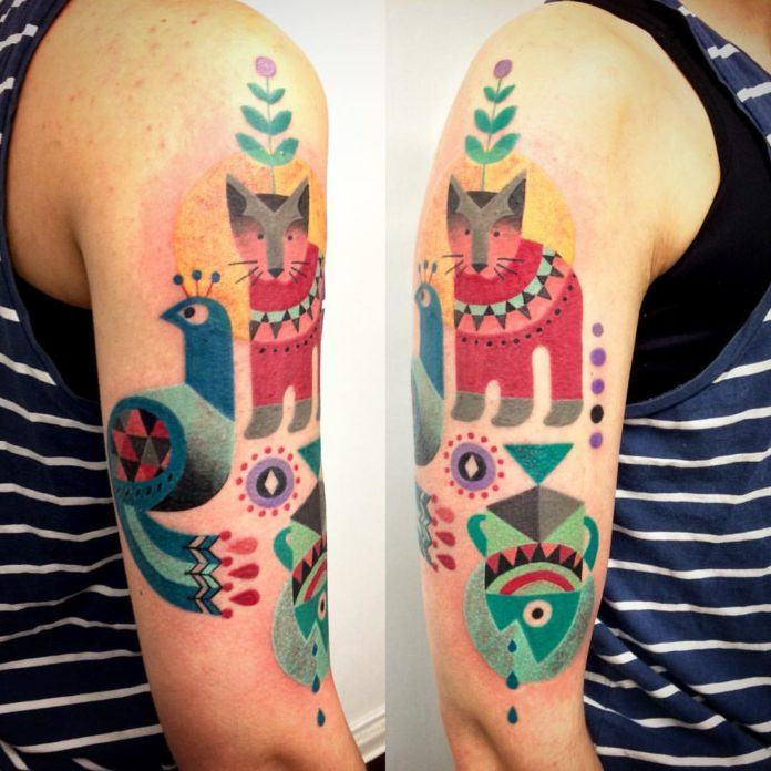 Creatures from the orient, including a peacock, feature in this geometric and colorful tattoo by Amanda Chamfreau