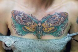 The Death's hawk moth tattoo by Ben Shaw features a human skull nestled between the moth's wings which fit perfectly on this girl's chest.